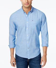 Tommy Hilfiger Men's Southern Prep Solid Long-Sleeve Shirt