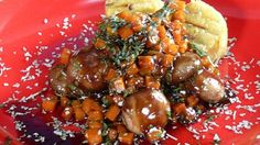 Sweet Potato, mushrooms and polenta