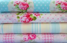 Shabby Chic Blue and Pink Floral Fat Quarter Bundle-fabric, fat quarter, bundle, floral, lecien, flower, sugar, sewing, crafts, supplies, stripes, pink, green, yellow, seam binding, satin rose
