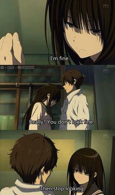 That's me Anime : Hyouka Otaku Anime, Me Anime, Manga Anime, Sad Anime Girl, Anime Kiss, Anime Stuff, Anime Triste, Sad Anime Quotes, Manga Quotes