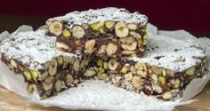 Chocolate panforte by Greek chef Akis Petretzikis. This is a spectacularly delicious, traditional Italian dessert containing fruits and lots of crunchy nuts! Greek Desserts, Italian Desserts, Greek Recipes, Fun Desserts, Italian Recipes, Snacks, Christmas Desserts, Amazing Cakes, Bakery