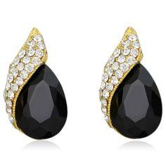 Irella - Green or Black CZ Diamonds Gold Stud Earrings