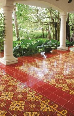 Create a Traditional Patio with Cement Tile Handcrafted cement tiles provide both long life and distinctive beauty. This stunning Alcala cement Design Exterior, Patio Design, Tile Design, Interior And Exterior, House Design, Floor Design, Patio Tiles, Concrete Tiles, Porch Tile