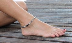 Beaded Anklet, Beach Anklet, beaded ankle bracelet silver and black gemstones, summer jewelry Silver Ankle Bracelet, Ankle Jewelry, Ankle Bracelets, Sterling Silver Anklet, Silver Anklets, Beautiful Toes, Pretty Toes, Beautiful Things, Cute Gifts For Her