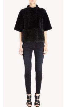 Barneys New York Short Sleeve Shearling Jacket