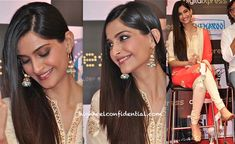 For the DVD launch of her movie, Sonam looked rather sweet in her beige and red Nikasha suit. But it was the earrings that had all our attention… Love 'em!
