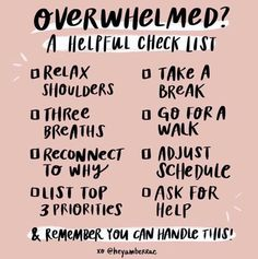 Self Care Sunday: A great reminder checklist for when you are feeling overwhelmed. Affirmations, Self Care Activities, Ask For Help, Self Care Routine, Coping Skills, Mental Health Awareness, Self Improvement, Self Help, Leadership