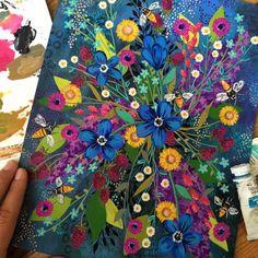 #ajeillustration #illustration #summer #painting #floral #flowers #flowerart #flowerpainting #floralart #gouache #art #artist #artwork #honeybees #raspberries #artontumblr