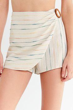 Slide View: 3: UO Striped Wrap Skort Short
