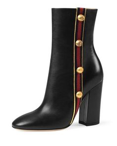 Carly Mid-Calf Globe Bootie, Black by Gucci at Neiman Marcus. Chunky Heel Ankle Boots, Black Ankle Booties, High Heel Boots, Bootie Boots, Shoe Boots, Heeled Boots, Black Mid Calf Boots, Short Black Boots, Black Leather Boots
