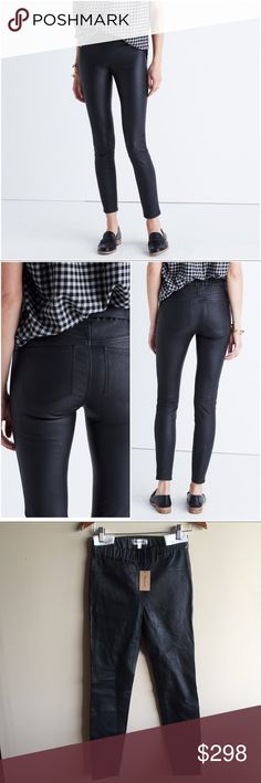 """Madewell black Anywhere leather pant • size 29 Gorgeous buttery soft genuine leather pants from Madewell, brand new with tags. Stretchy, pull on, high waist, back pockets. 14"""" across waist, 10"""" rise, 29"""" inseam.   """"Like our favorite pull-on jeans, these sleek pants are made to wear, well, anywhere. Made of soft stretch leather, they are equally cool with a denim button-down or a silk tank."""" 100% leather. Sits at hip, fitted through hip and thigh, with a slim leg. Dry clean. Import. Item…"""