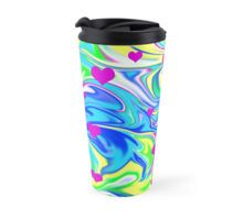 #abstract #marbleized Hippy Love, Bubble Gum, Melted Liquid Travel #mug