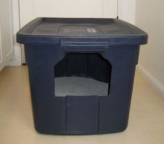 I really need to make one of these for my cats.  An enclosed litter box.  I like this because I can make the hole the size I need to keep the dog out and still let the cats in.