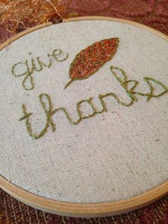Give Thanks Fall Bronze & Sage Leaf hand embroidery