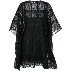 Valentino Lace Cape Dress (80.411.575 IDR) ❤ liked on Polyvore featuring dresses, black, flower print dress, lacy dress, scalloped hem dress, lace dress and valentino dresses