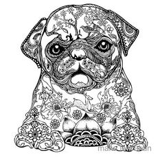 Puppy Coloring Pages, Free Coloring Pages, Coloring Books, Coloring Sheets, Pug Art, Mandalas Drawing, Zentangles, Printable Adult Coloring Pages, Doodles