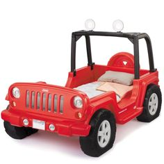 Jeep® Wrangler Toddler to Twin Bed $349.99 **Cubby inside spare for small items, and functional roll bar lights... Super cool!**