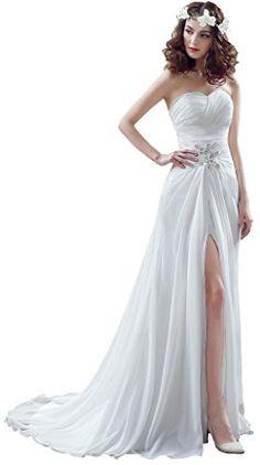 BessWedding Chiffon Wedding Dresses 2016 Beach Wedding Gowns with Front  Split     Read more 8c4aeaf1d1e1