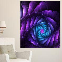 Purple Fractal Flower in Dark - Floral Abstract Art Print