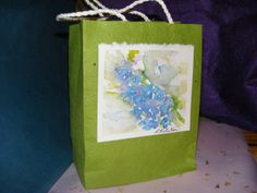 Paper Gift Bag   Watercolor  Blue Delphiniums by TheGiftoftheGAB, $5.00