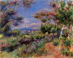 Young Woman in a Landscape, Cagnes - Pierre-Auguste Renoir