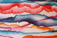 """Image of """"Colour line"""" hand-painted silk scarf by Asta Masiulyte"""