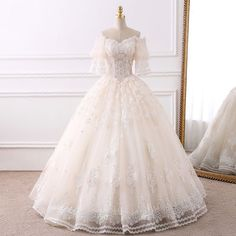 Wedding Dress Ball Gown Elegant Champagne Wedding Dresses 2018 Ball Gown Off-The-Shoulder Sleeves Backless Appliques Lace Beading Pearl Tassel Ruffle Floor-Length / Long - Renaissance Wedding Dresses, Western Wedding Dresses, Wedding Dresses 2018, Luxury Wedding Dress, White Wedding Dresses, Bridal Dresses, Old Fashioned Wedding Dresses, Christen, Beautiful Gowns