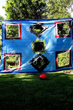 Tarp Game/Easy to make, Cheap and Fun game for a backyard of July party or even a birthday party! Pair with a Nerf football or with a slingshot and use foam balls or socks balled up for ammo. Nerf Birthday Party, Nerf Party, Football Birthday, Birthday Games, 9th Birthday, Birthday Ideas, Camping Games Kids, Games For Kids, Diy Camping
