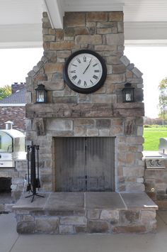 Stoned Outdoor Fireplace Canyon Gray and Price Cut Cobble with Barn Beam Mantle J&N Stone