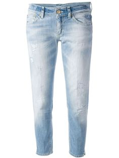 Faded blue cotton blend Eufelia skinny jean from Dondup featuring a button and zip fly, belt loops, a five pocket design and a cropped length.