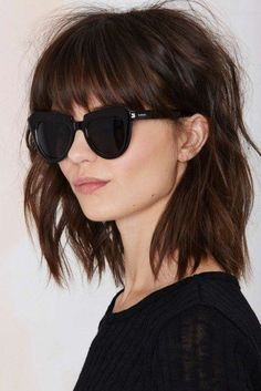 35 Luxury Hairstyles with Glasses and Bangs - bob hairstyles with bangs and glasses, hairstyles with Medium Hair Cuts, Short Hair Cuts, Medium Hair Styles, Curly Hair Styles, Long Layered, Long Curly, Thick Hair Long Bob, Short To Long Bob, Short Shag