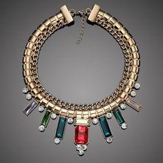 gold choker geometric statement necklace