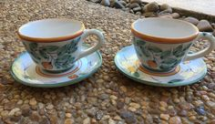 Matching pair of 2 vintage Italian oversized mugs and saucers in tropical Old Florida green blue orange with fruit and leaf design!