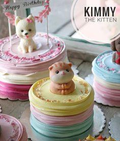 9th Birthday, Birthday Cake, Korea Cake, Kitten Cake, Buttercream Cake, Mini Cakes, Cat Lovers, Icing, Good Food