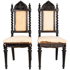 "pair of gothic style chairs - usa - 19thc - height: 46.25""   second height: 19.5""   depth: 18.25""   width/length: 18"" - via berkshire home & aniques, dealer ref. : 4278   ref. : 12111483341156 - 1,450 usd"