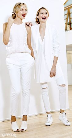 Here's what your spring wardrobe is craving: Mix-and-match tops and bottoms for chic all-white outfits. Look for drapey silk tanks, cropped trousers, ripped skinny jeans and oversized blazers. Finish it off with white open-toe heels or white sneakers.