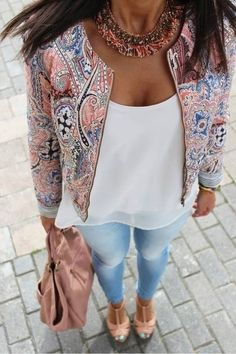 Nice day time look, blazer with this type of pattern could possibly be found in Zara or Miss Selfridge. Standard white vest top can be found in H&M or Topshop. Denim washed blue jeans - H&M. Nude open-toe heel can be found in Schuh or Office for stylish however affordable. Peach/Pink bag can be found in ASOS.