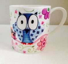 Whimsical Owl Mug Rose Of England Fine Bone China Colorful Coffee Cup Pink