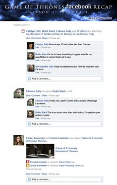 """If """"Game of Thrones"""" Happened on Facebook: s3 e3 ... follow the link, there is more!"""