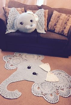 Do you want to create the crochet rug patterns in this near future? It is a good idea for sure. Rather than buying the rug in the store, it seems more. Elephant Rug Crochet, Crochet Carpet, Crochet Rugs, Free Crochet, Elephant Throw Pillow, Crochet Pillow Patterns Free, Animal Rug, Pillows, Elephant Family