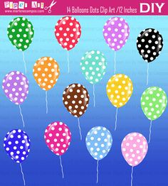 INSTANT DOWNLOAD  Polka Dots Balloons Digital Clip by PaperArtbyMC, $6.80