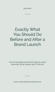 Exactly What You Should Do Before and After a Brand Launch — Jordan Prindle Designs Small Business Marketing, Business Branding, Corporate Branding, Logo Branding, Branding Design, Logo Design, Design Design, Design Trends, Branding Ideas
