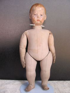 "Thank you 'M'_Extremely RARE_Early Kathe Kruse Doll_17"" with Frog hands/fingers_"