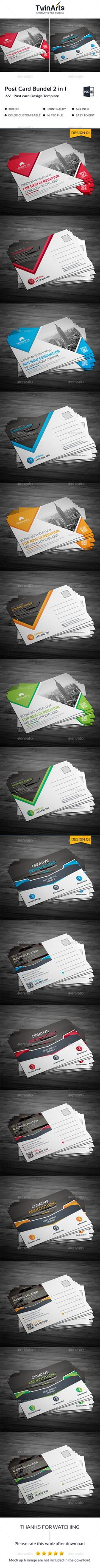 Post Card Template PSD Bundle 2 in 1