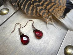 Sanguine. Faceted Czech glass rustic blood droplet by Chymiera