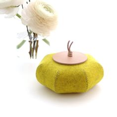Handmade felt jar with nude leather lid. Use as decor or for keeping your treasured possessions in one place.    Size: Height 5,5 cm / 2.25 in.