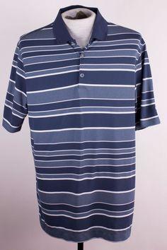 Nike Golf Tour Performance Dri Fit Mens L Gray Blue Stripe Polo Golf Shirt  #Nike #PoloRugby