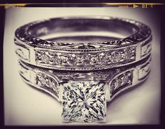 I like this one a lot, very traditional but 'blingy' Princess Cut Diamond Engraved Engagement Ring & Matching Wedding Band