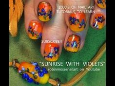 orange gradient violet flower nail art 752 italy necklace nails matchup