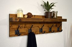 Rustic Modern Coat Rack Floating Shelf Bathroom Robe Towel Rack Hooks Handmade Light Walnut